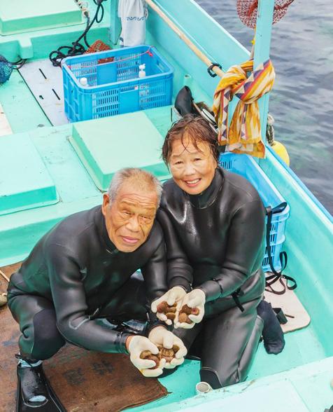 伝統的な漁法でウニを採る、海士(あまし)さん